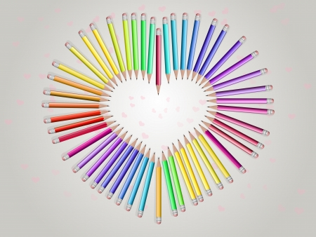 pencils, arranged in the shape of a heart .The kind of top Illustration