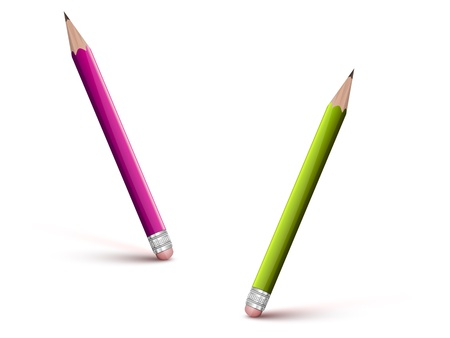 green and pink pencils with erasers on a white background