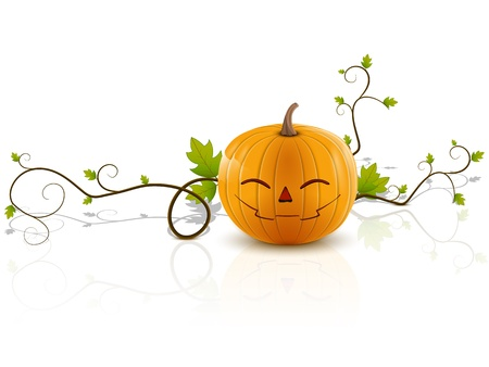 laughing pumpkin, a symbol of halloween, on a white background with reflection Illustration