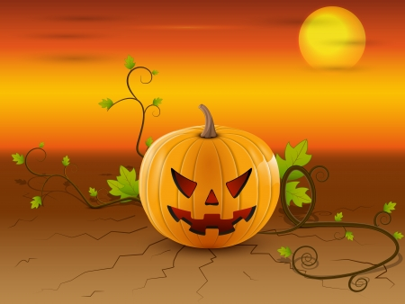 illustration of a pumpkin with roots and green leaves character Halloween on the cracked earth