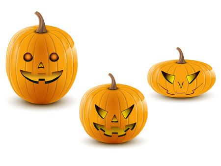 trois citrouilles de Halloween diff�rentes tailles sur un fond blanc Illustration