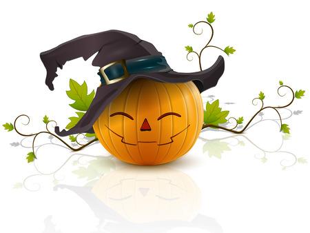 grappige pompoen met een hoed op zijn hoofd viert Halloween Stock Illustratie