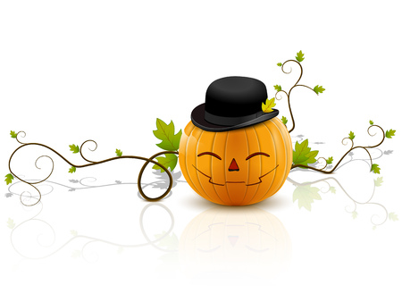 laughing pumpkin with hat, a symbol of halloween, on a white background with reflection
