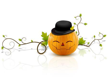 riant citrouille avec un chapeau, un symbole de l'Halloween, sur un fond blanc avec la r�flexion