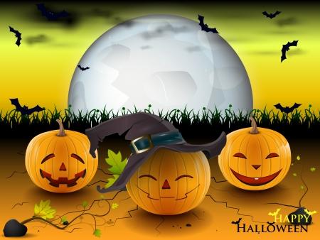 trois bonnes citrouille sous un clair de lune dans la nuit de Halloween