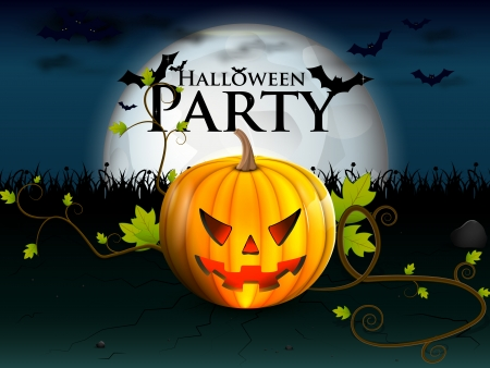 devilish: party Halloween under the moon with a devilish lively pumpkin, and bats with burning eyes