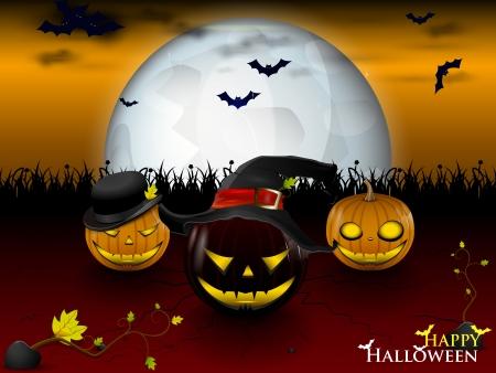 trois mal citrouille sous un clair de lune dans la nuit de Halloween