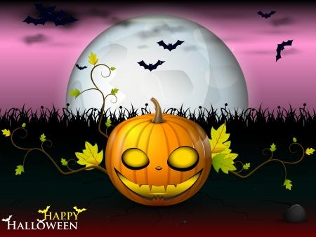 Halloween under the pink sky with bats and orange pumpkin