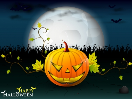 party Halloween under the moon with a orange lively pumpkin, and bats with burning eyes Illustration