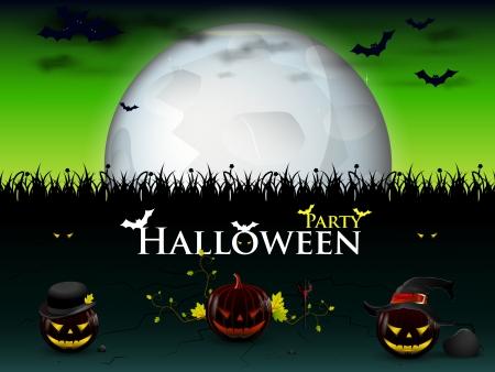 f�te d'Halloween avec trois diabolique citrouilles genre lumineux lune Illustration