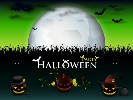 devilish: party Halloween with three devilish pumpkins genus bright moon Illustration