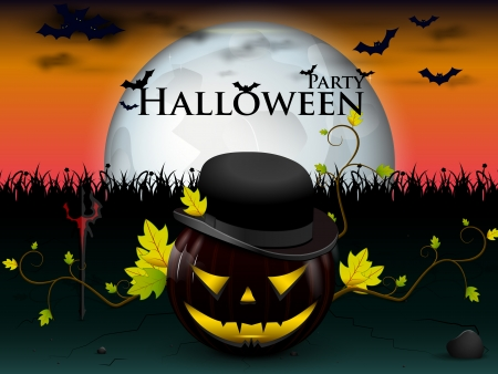 devilish: happy party halloween under the moon with a devilish lively pumpkin, and bats with burning yellow eyes