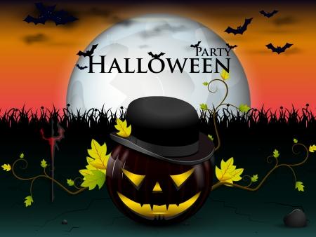 heureuse f�te d'Halloween sous la lune avec une citrouille anim� diabolique, et les chauves-souris avec des yeux ardents jaunes