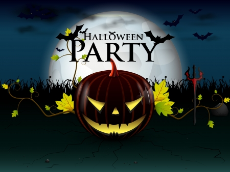 party Halloween under the moon with a devilish lively pumpkin, and bats with burning eyes