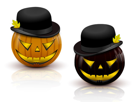 two pumpkins in hats, orange and black, with sparkling eyes and the devils eyes
