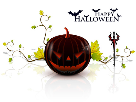 evil pumpkin on a white background with a very bright eyes, holding a pitchfork Illustration