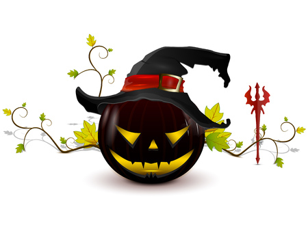 evil pumpkin with hat on a white background with a very bright eyes, holding a pitchfork