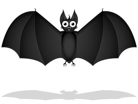effray�e ombre de chauve-souris noire sur fond blanc