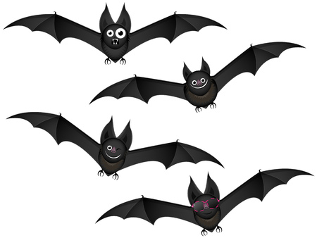 four black bats in flight with funny facial expressions