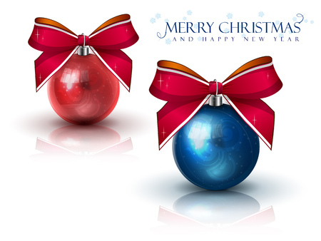 two beautiful Christmas ball with red bows on white  Illustration