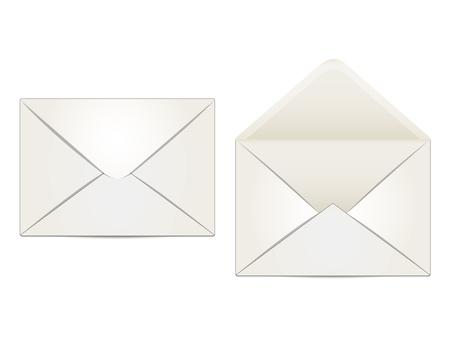 deux enveloppes beige, int�rieur et ext�rieur, sur un fond blanc