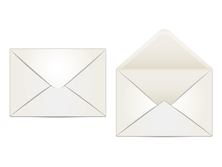 two envelopes beige, indoor and outdoor, on a white  Illustration