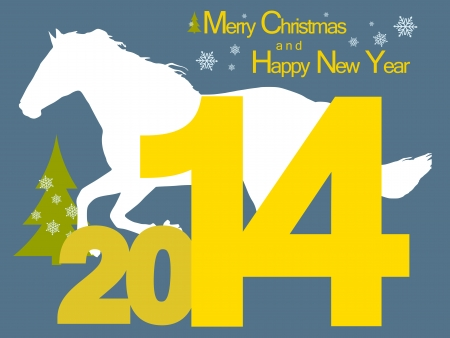 New year background with the symbol of the 2014 horse