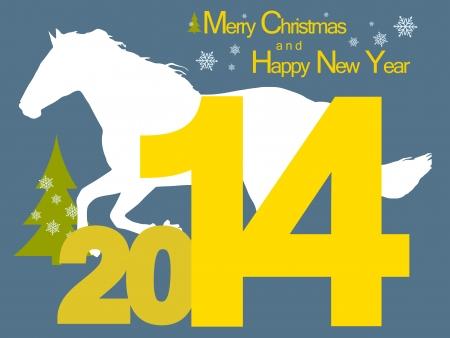 Nouvelle ann�e de fond avec le symbole du cheval 2014