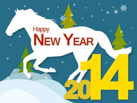 New year background with the symbol of the 2014 horse, snow and Christmas trees