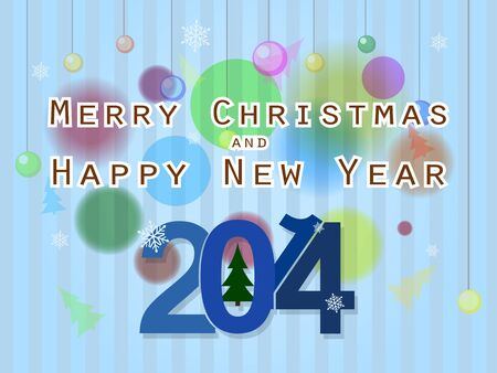 Beautiful blue background on the topic of Christmas and new year 2014 Illustration