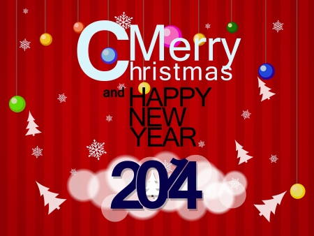 Beautiful red background on the topic of Christmas and new year 2014