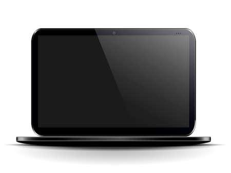 ordinateur portable noir sur un fond blanc avec un �cran noir Illustration
