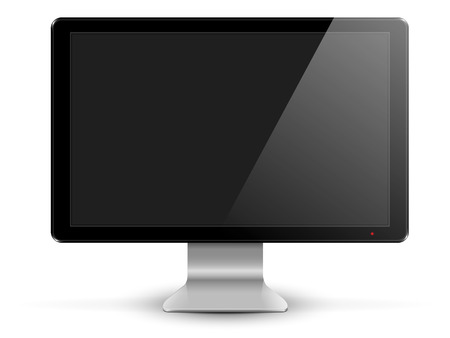 silver screen: black computer monitor on the silver plate with black screen