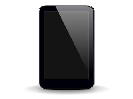 tablet PC on a white background with a black screen