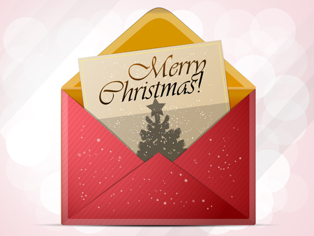 A red envelope with a letter inside and inscription merry Christmas
