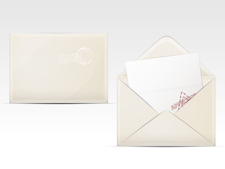 two paper envelope beige color with a white sheet and a stamp Illustration