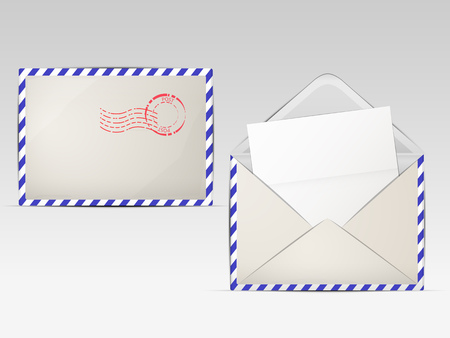 two paper envelope with a striped border, a white sheet and stamp