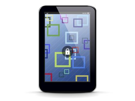 tablette PC sur un fond blanc avec un fond abstrait sur l'�cran