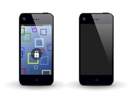 two mobile phone on a white background with different screens