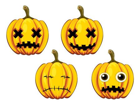 ensemble peint citrouilles avec des visages diff�rents pour Halloween