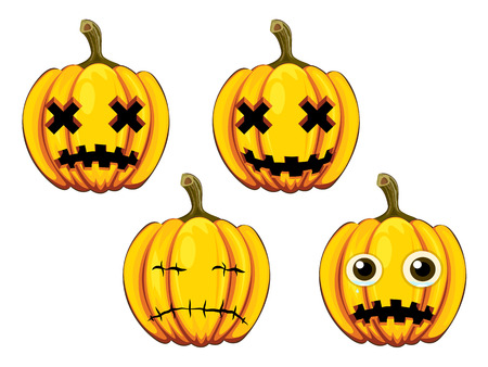 set painted pumpkins with different faces for Halloween