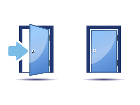 two blue icons doors, open and closed on a white background Illustration