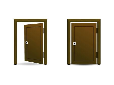 Deux ic�nes portes en bois, ouverts et ferm�s sur un fond blanc Illustration