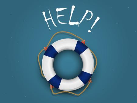 gonflable bou�e sur fond bleu-vert avec les mots de l'aide!