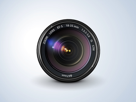 lens reflex camera, realistic, on a plain background Vectores