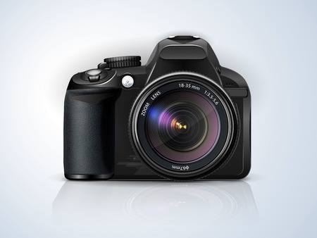 professional: black professional SLR camera on a grey background with the reflection of the