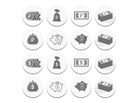 set of icons of money on the round dies with shadow