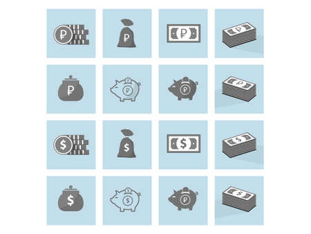 set of icons of money gray with shadows Illustration