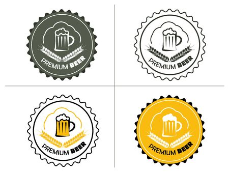 round colored design with a mug of beer and wheat ears Illustration