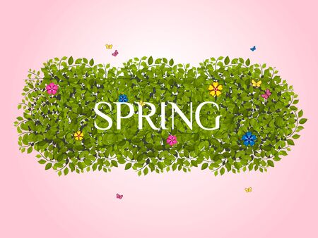 Beautiful spring background with green leaves, flowers and butterflies